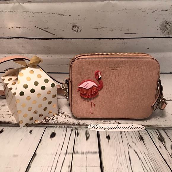 Kate Spade New York By The Pool Flamingo Camera Crossbody Shoulder Bag New NWT